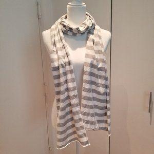 American Apparel Gray White Striped Scarf
